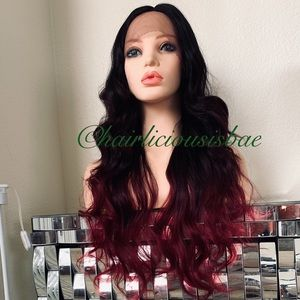 "Wig red wine ombré black wavy 26"" long lace front"